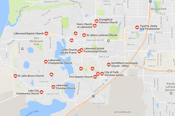 lakewood churches map